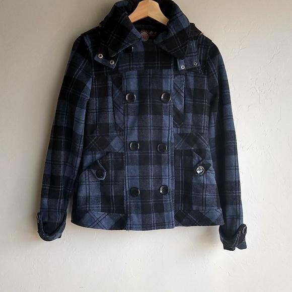 f1ee314f4ab4c YMI Jackets & Coats   Blue And Black Plaid Hooded Jacket Size   Poshmark